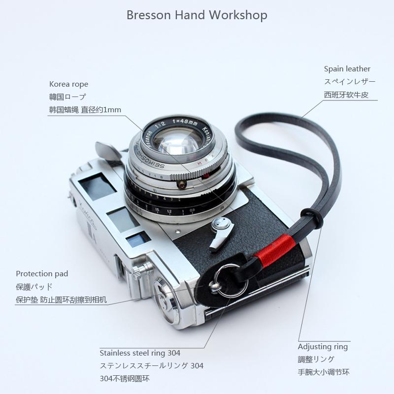 BHW/6mm手工相机腕带真皮微单手挂绳单反复古牛皮富士徕卡尼康绳
