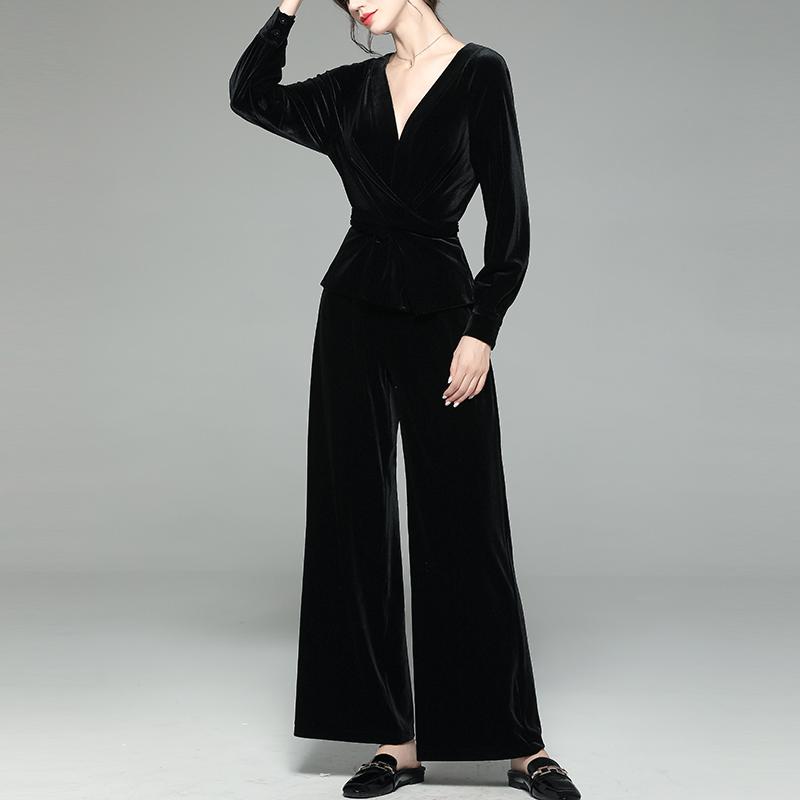 金丝绒套装女初秋轻熟法式低领时尚上衣