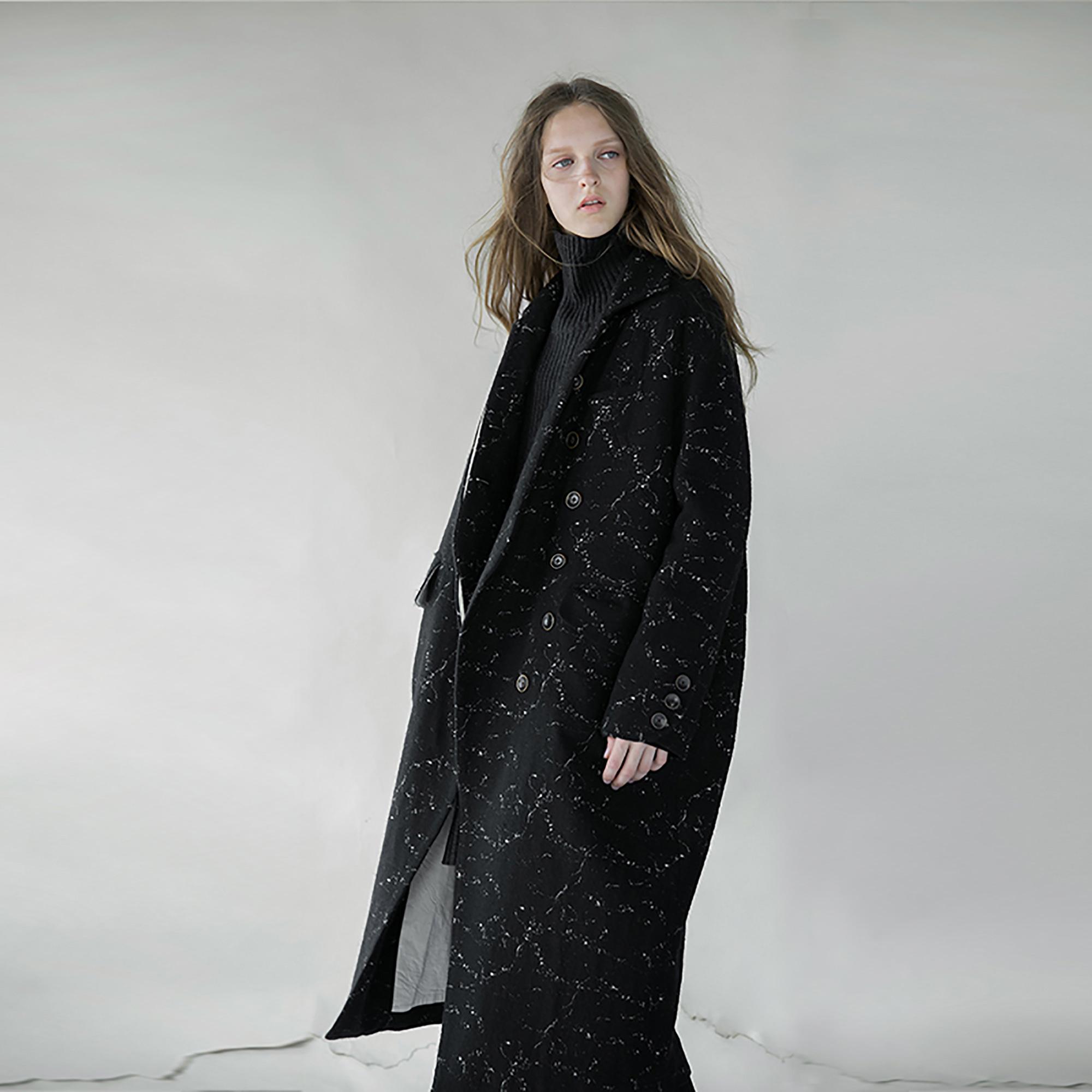 羊毛呢中长款大衣外套