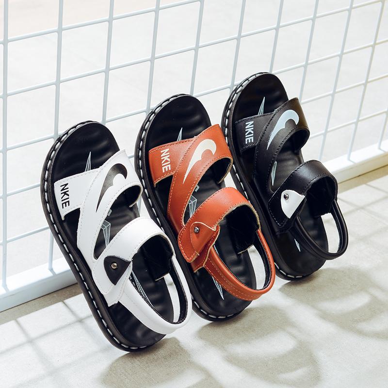 男童凉鞋2017新款潮真皮韩版夏季小学生中大童防滑软底露趾沙滩鞋