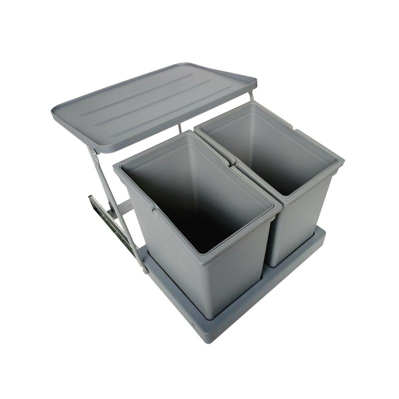 橱柜厨柜水槽柜开门连门垃圾桶嵌入式柜内隐藏厨房垃圾筒家用有盖