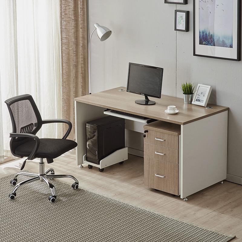 职员办公桌单人简约电脑桌抽屉写字台式书桌椅组合家用员工办公台