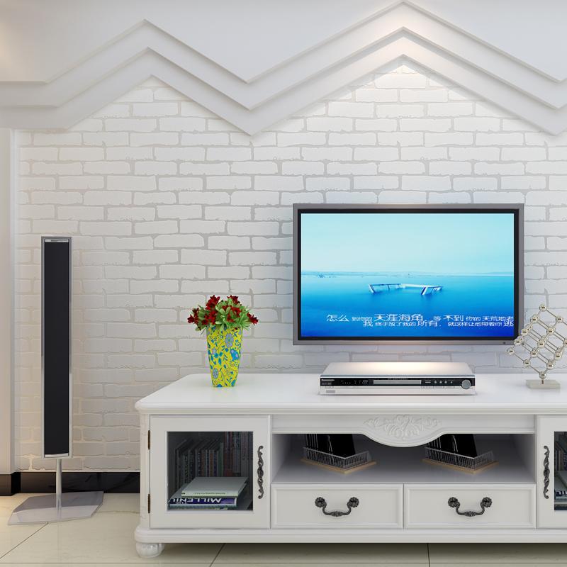 自粘浅蓝色复古3D立体砖纹壁纸卧室玄关客厅电视背景墙纸贴纸加厚