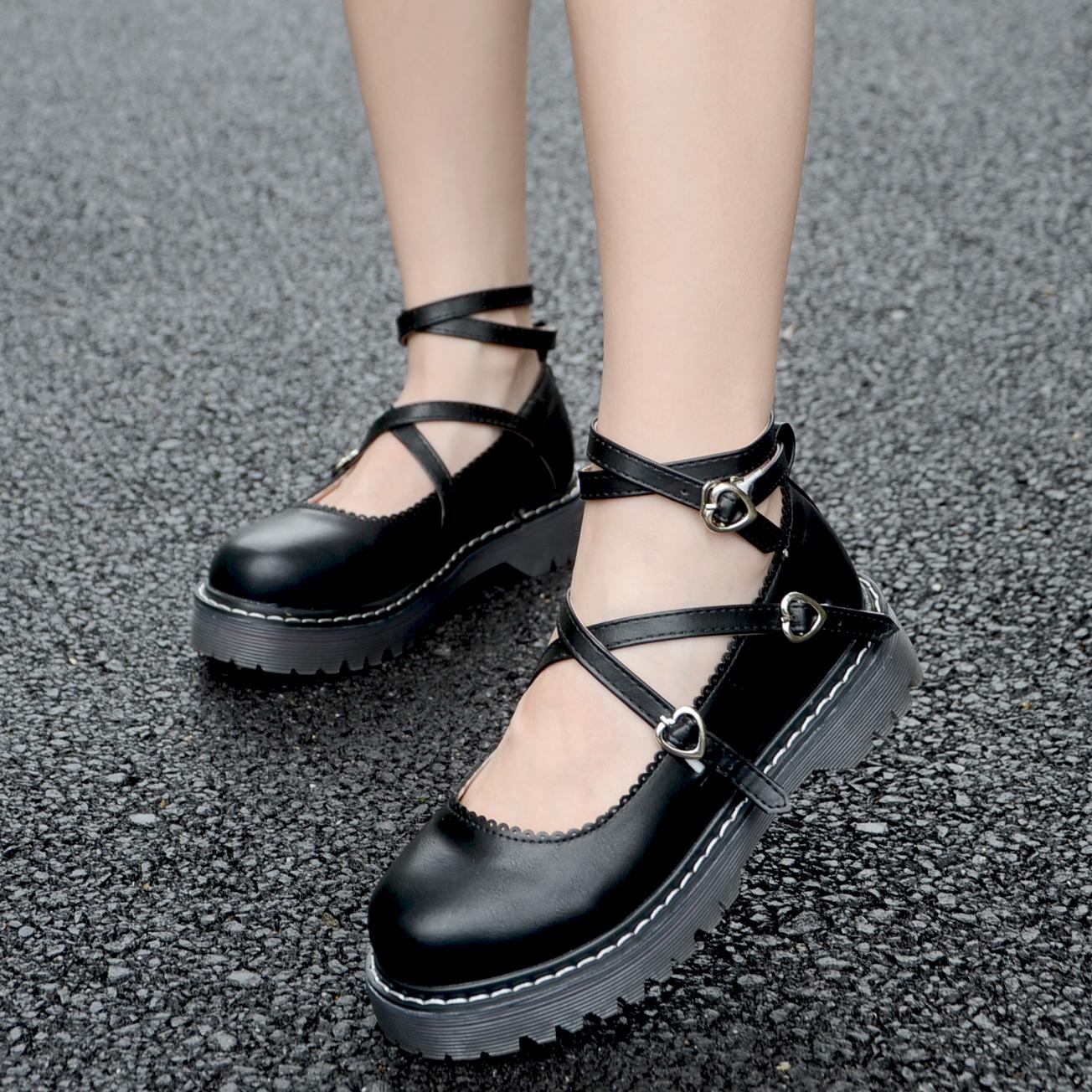 英倫學院小皮鞋女厚底軟妹洛麗塔繫帶圓頭單鞋娃娃鞋原宿淺口女鞋