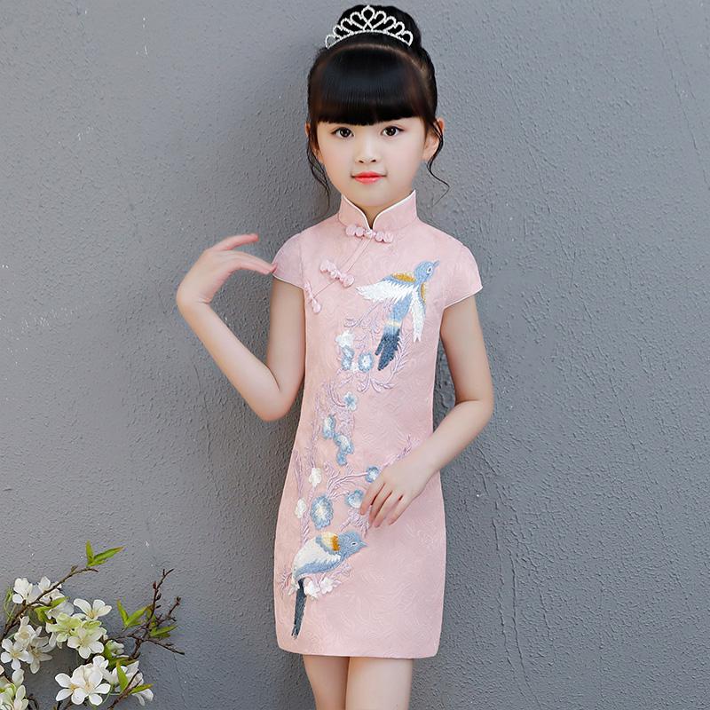 女童旗袍2018夏新款儿童小女孩修身刺绣中国风薄款唐装纯棉公主裙