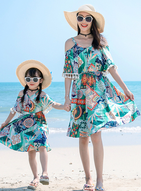 情侣装夏季2021新款三亚海边度假旅游拍照套装超仙沙滩裙女连衣裙