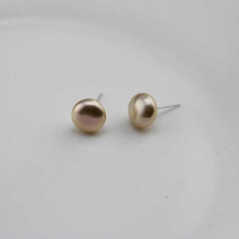金粉色异域风巴洛克纽扣时尚S925银耳钉天然淡水珍珠耳饰