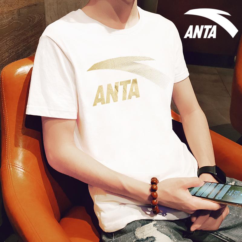 安踏短袖T恤男装2019夏季新款吸汗透气大logo圆领休闲半袖运动服