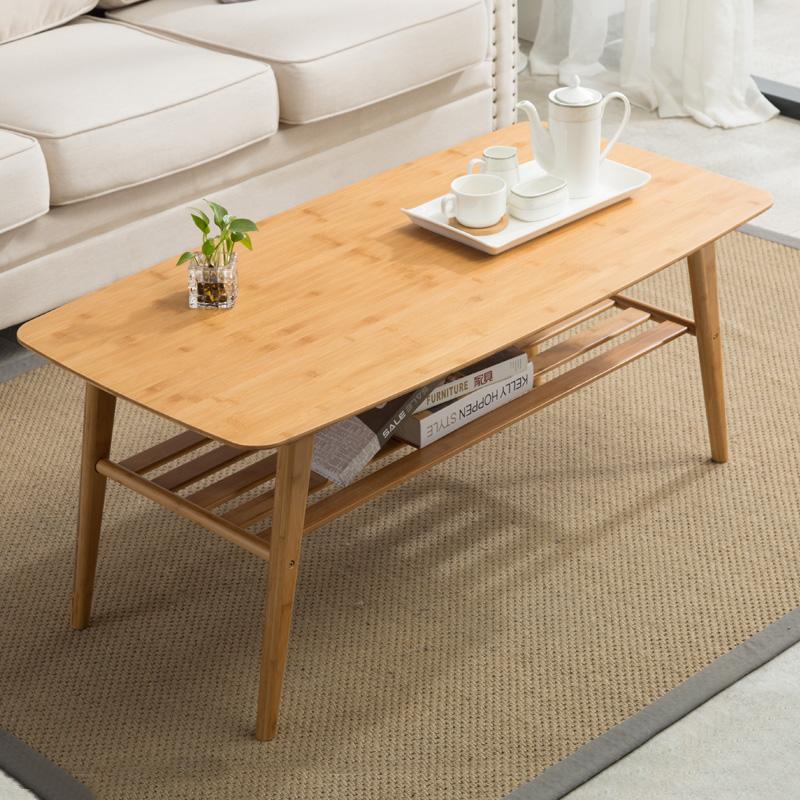 竹庭日式茶几桌小户型实木矮桌茶桌客厅楠竹北欧茶几简约现代家用