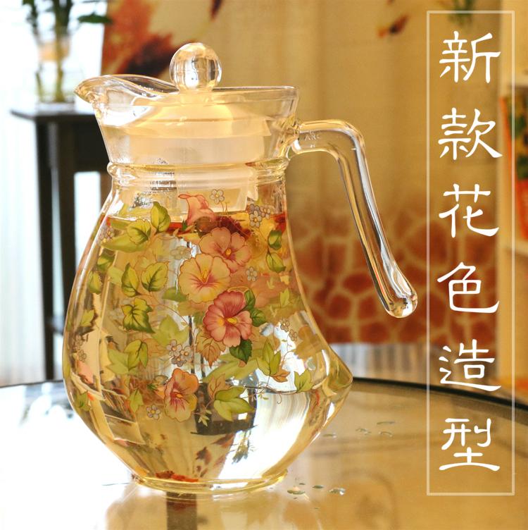 韓國大容量玫瑰花小鴨玻璃涼熱水壺耐高溫加厚1400ml茶水壺防炸