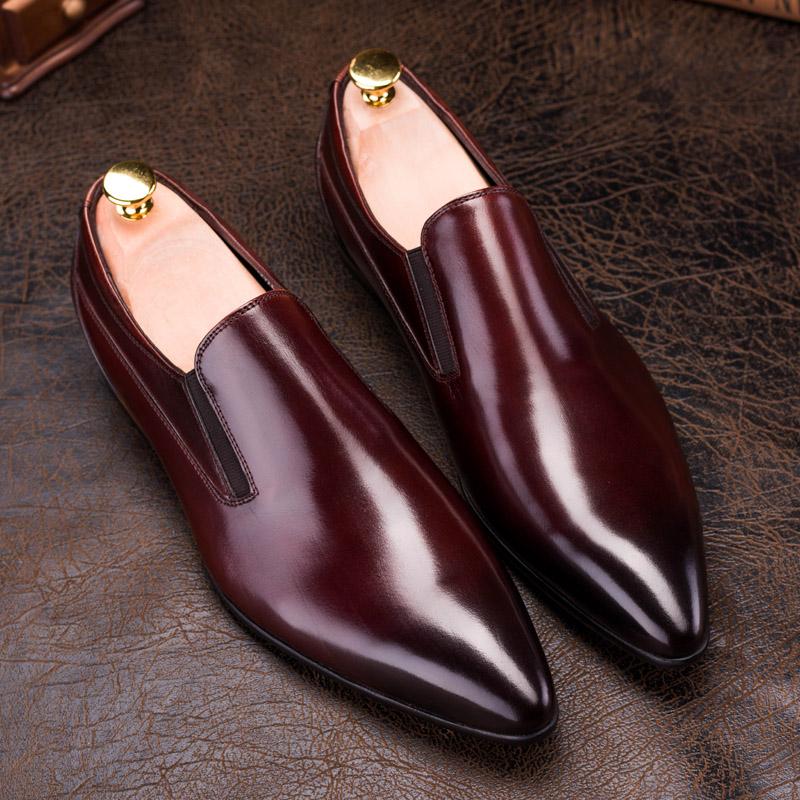 时尚尖头潮男鞋男士牛皮套脚低帮透气商务皮鞋男一脚蹬鞋子男真皮