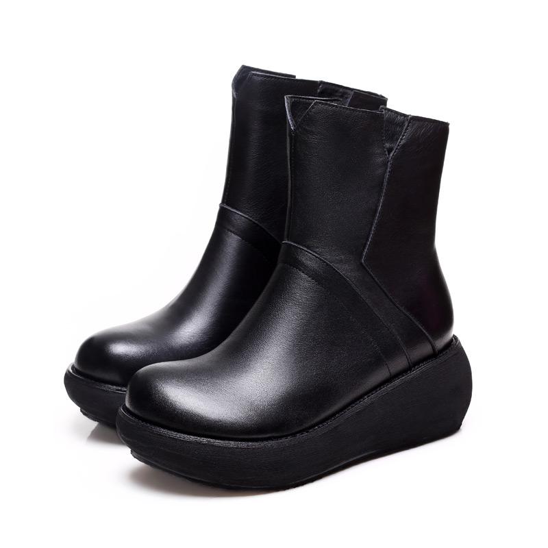 中筒靴子女 坡跟牛皮厚底加绒雪地靴保暖侧拉链棉鞋女鞋冬季女靴
