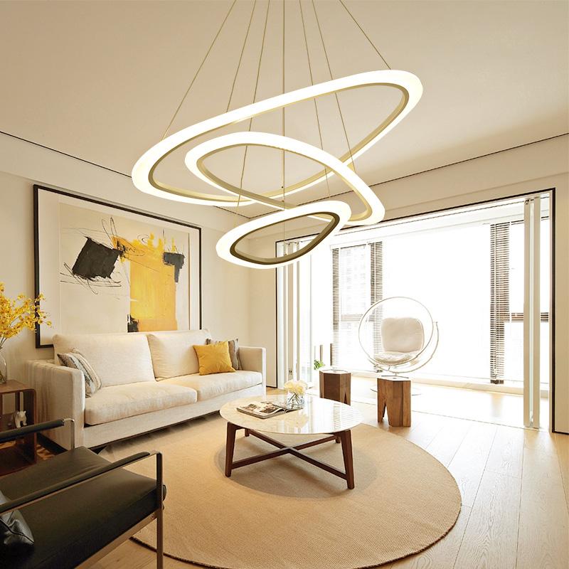 餐厅灯 led 现代简约创意个姓大气环形卧室灯具北欧客厅灯 客厅吊灯