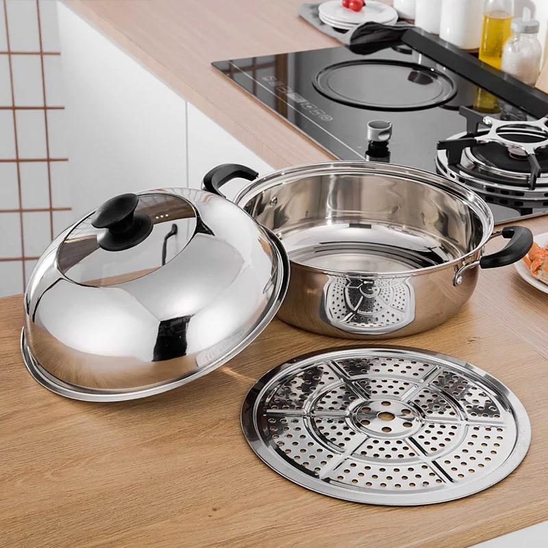 勝德不鏽鋼雙層蒸鍋桑拿雞鍋魚鍋海鮮蒸汽鍋湯蒸鍋桑拿煲火鍋