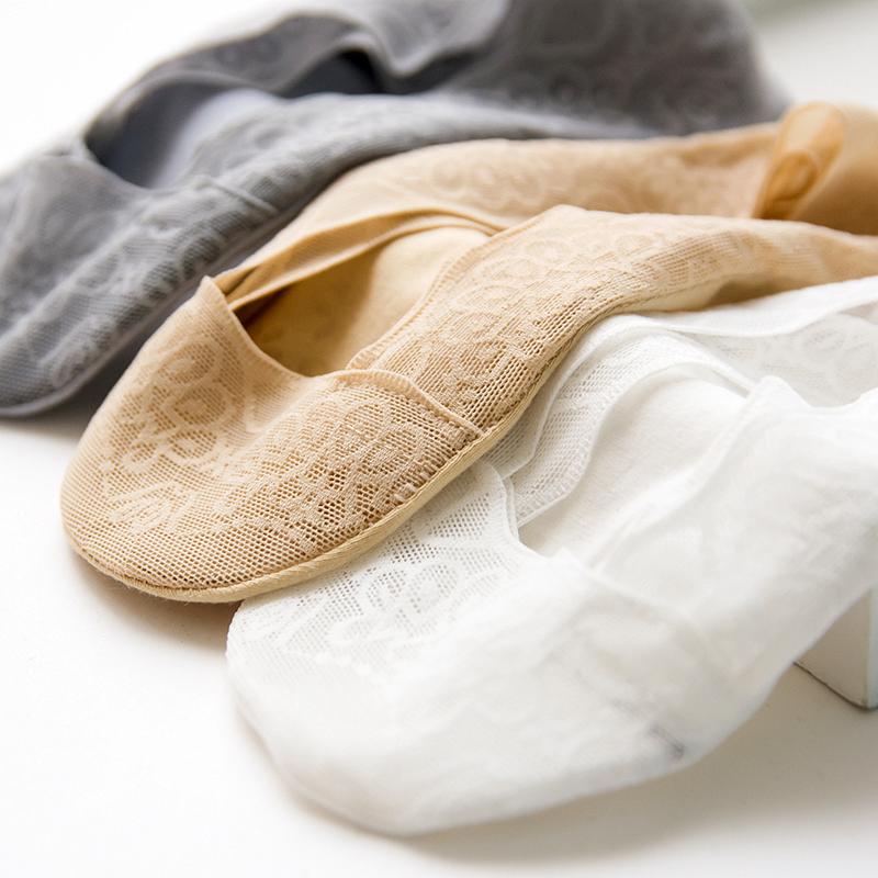 双装船袜女夏季薄款蕾丝花边浅口隐形袜韩版纯棉底硅胶防滑短袜 5