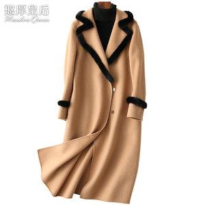 憨厚皇后 海宁双面羊绒毛呢子直筒大衣女装水貂毛长款羊毛外套84