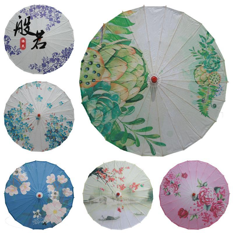 中国风复古油纸伞装饰影视道具舞蹈cos伞古风工艺伞江南水墨荷花