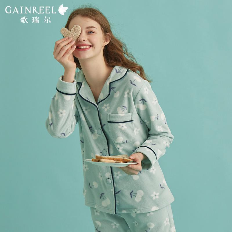 歌瑞尔秋季新品甜美可爱摇粒绒长袖睡衣可外穿家居服套装19001HY