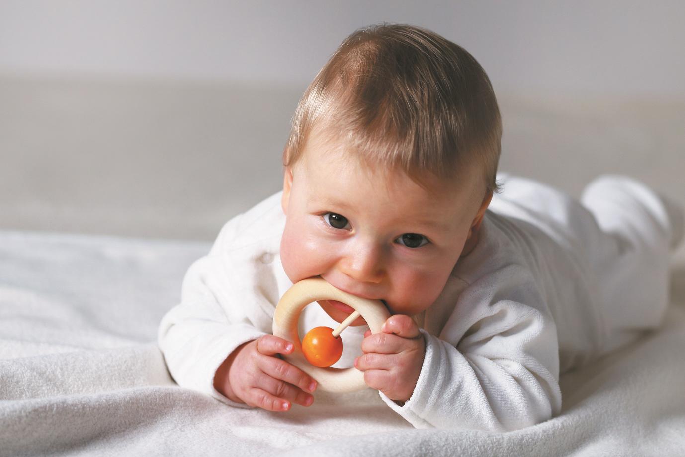 Naef可铃环 新生儿启智磨牙摇铃 德国进口婴儿木制牙胶0~3月以上