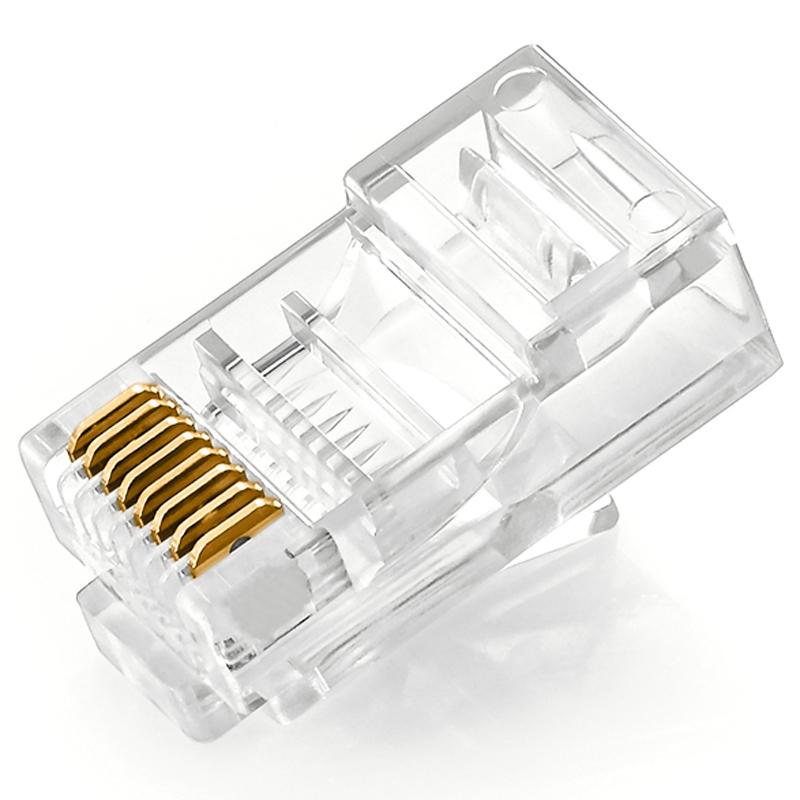 胜为 网线水晶头超五类8芯镀金网络连接头RJ45水晶头100个包邮