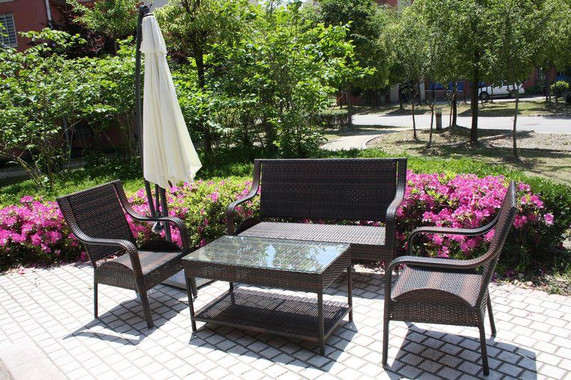 子竹家具 藤编沙发组合四件套 花园阳台仿藤休闲桌椅 户外沙发