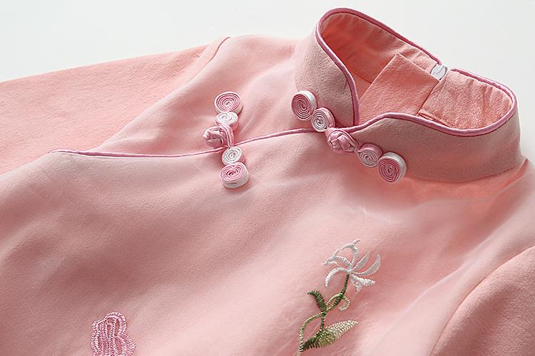 女童绣花旗袍2019春秋新款童装儿童宝宝复古风长袖连衣裙礼服裙子