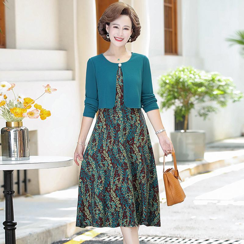 妈妈春秋装长袖连衣裙中年女40岁50中老年女装假两件套洋气打底裙