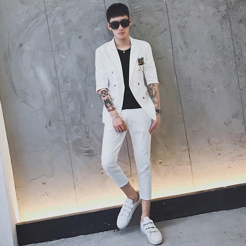 夏季七分袖西服套装男韩版紧身显瘦纯色免烫双排扣九分裤西装套装