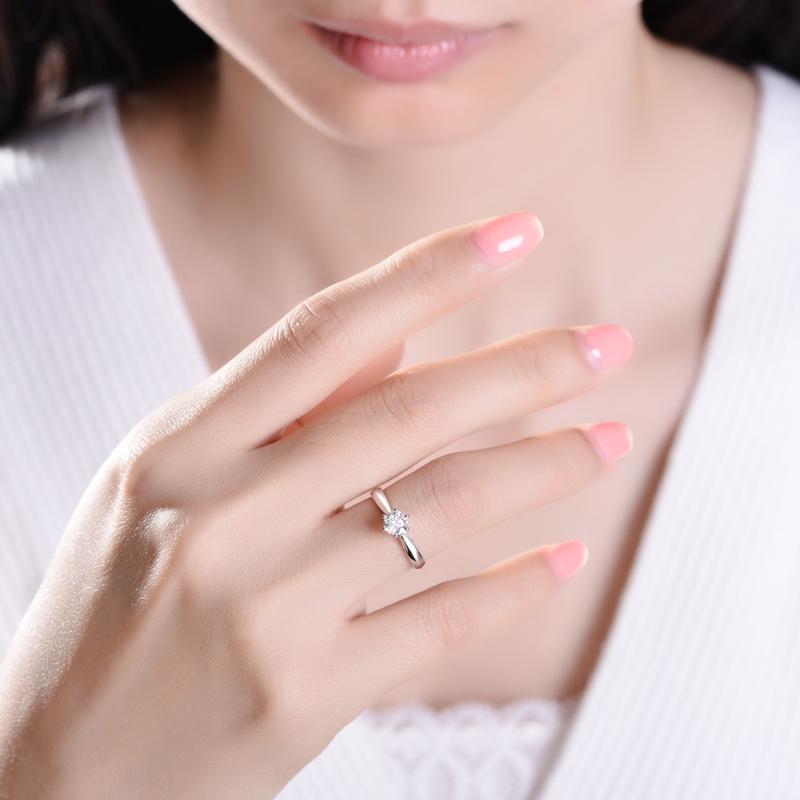 佐卡伊 经典铂金六爪钻戒婚戒正品专柜求婚结婚pt950白金钻石戒指