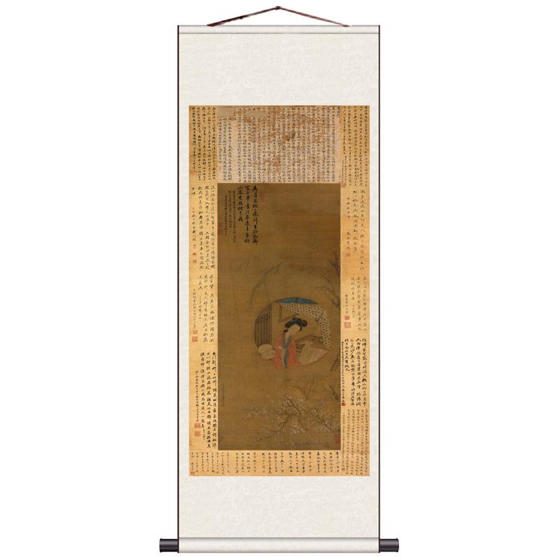 郎世寧平安春信圖名家卷軸畫絲綢禮品清代字畫胡湄玉堂富貴石竹圖