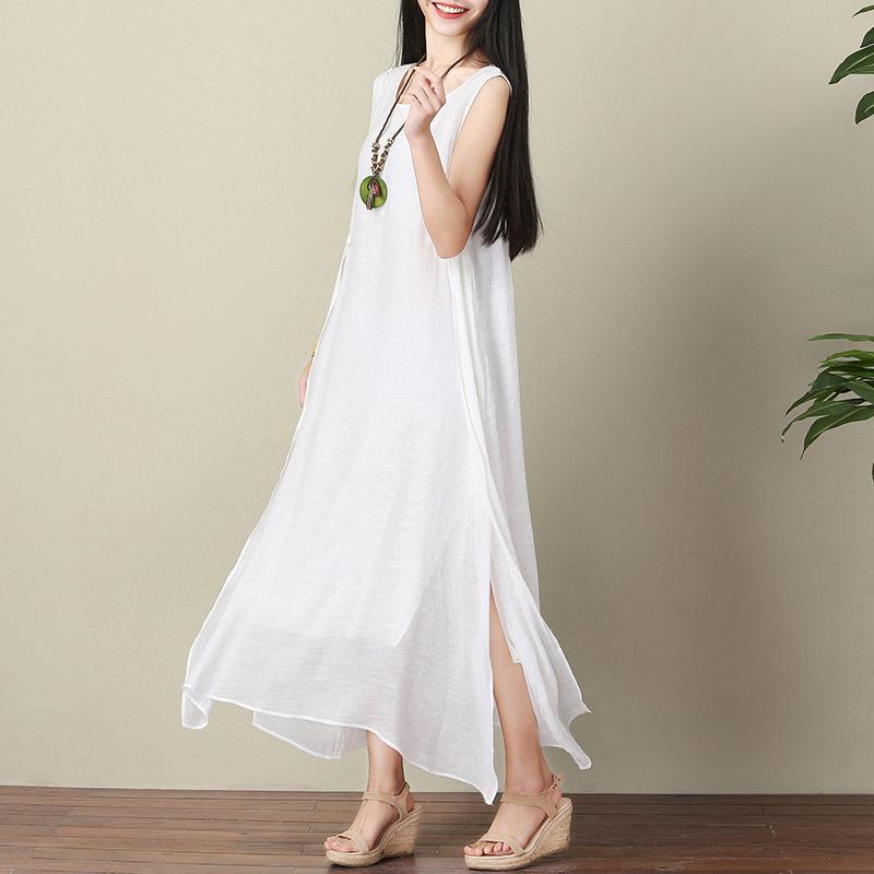 夏季新款无袖大码真丝麻连衣裙宽松文艺棉麻背心裙白色仙女长裙女