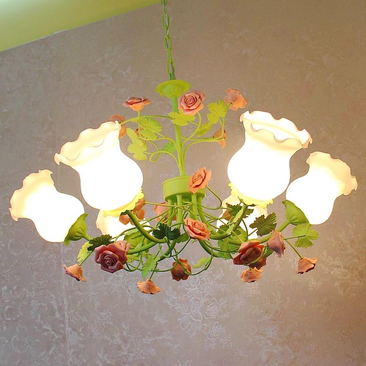头韩式铁艺花草花朵餐厅卧室灯 8 头 6 温馨田园风格吊灯创意客厅灯具