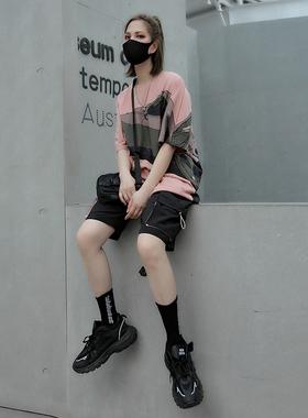 M家2021夏装嘻哈炸街套装女宽松T恤短裤两件套酷酷风格女装ins潮