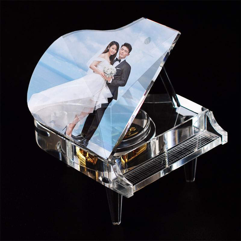 照片定制 DIY 礼品女生生日礼物 520 大号水晶钢琴八音盒音乐盒创意