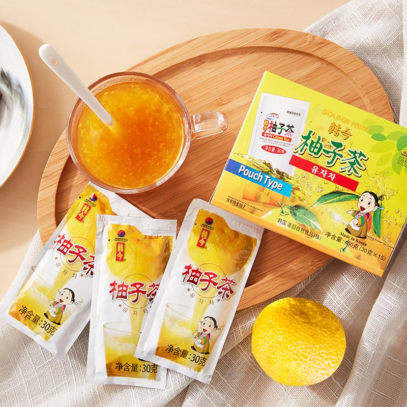 韩国进口 冲调饮品饮料果实茶韩今蜂蜜柚子茶30g*15