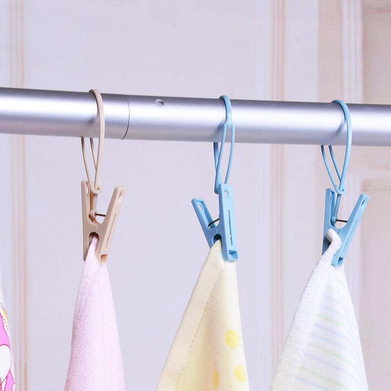 日本LEC多功能晾晒夹塑料带绳防风衣夹内衣袜子毛巾晾衣夹15个装