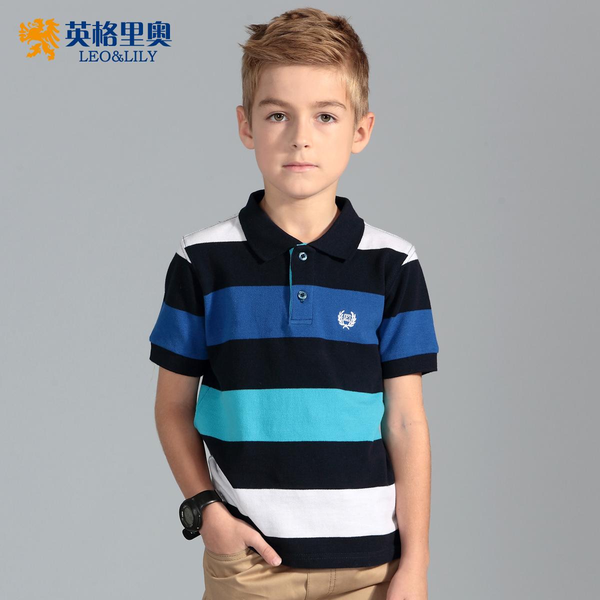 童裝男童短袖t恤中大童純棉半袖體恤兒童休閒條紋翻領夏裝polo衫