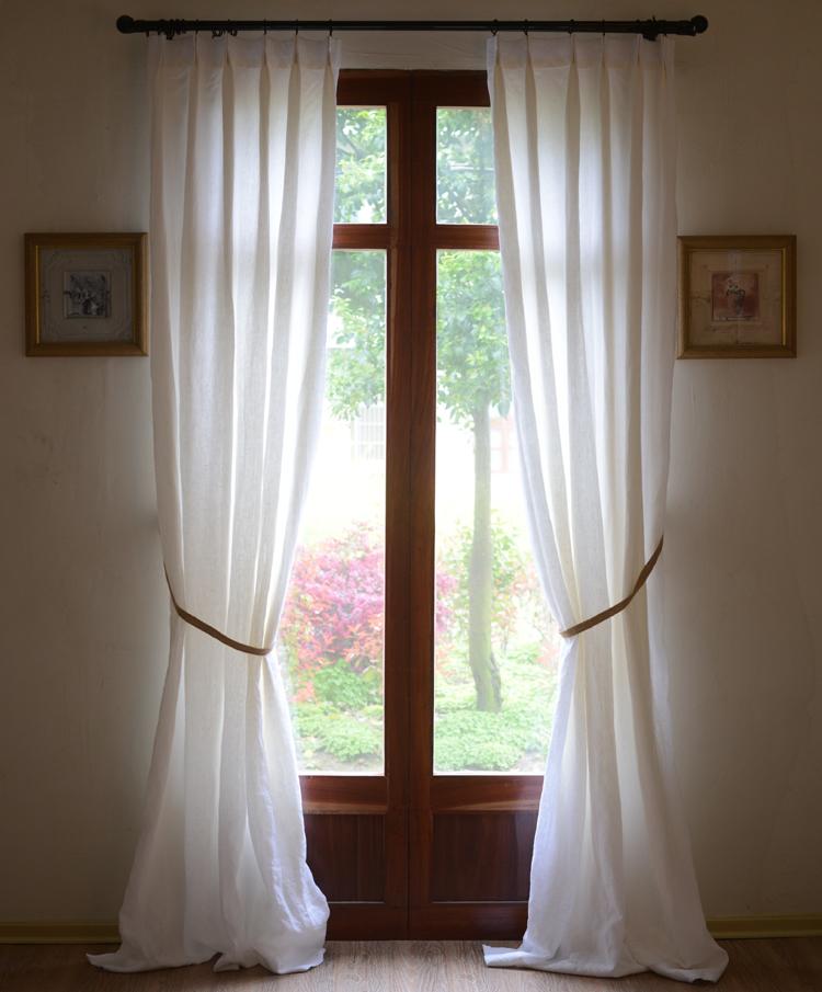 天然純亞麻 法國亞麻美式法式北歐日式定製窗簾客廳書房榻榻米