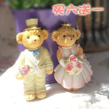 韓國創意立體卡通樹脂泰迪熊小熊冰箱貼磁貼磁鐵結婚慶回禮禮物
