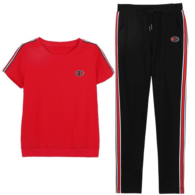 2018新款韩版时尚短袖长裤宽松大码两件套跑步休闲运动服套装女夏