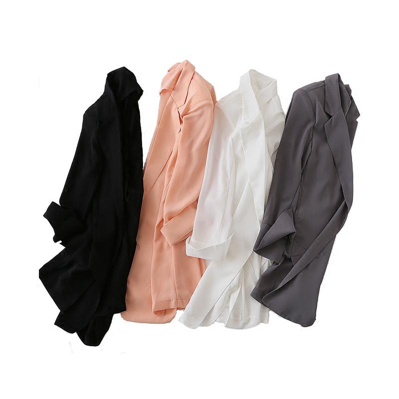 韩版春夏中长款百搭雪纺小西装女防晒衣宽松显瘦白西服大码薄外套