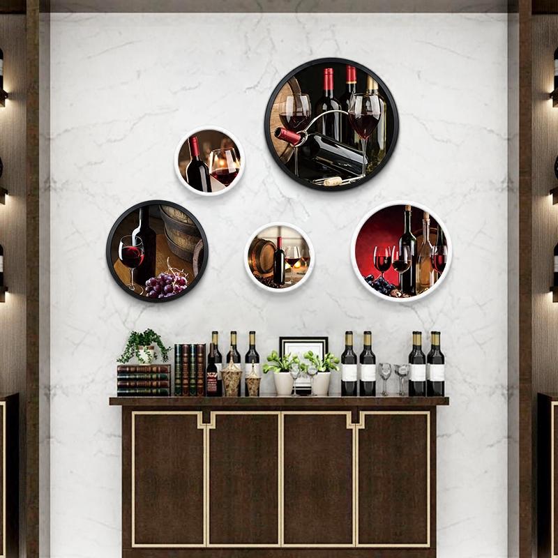 葡萄酒红酒会所酒庄装饰画酒吧墙壁墙面墙上挂画创意壁画圆形画