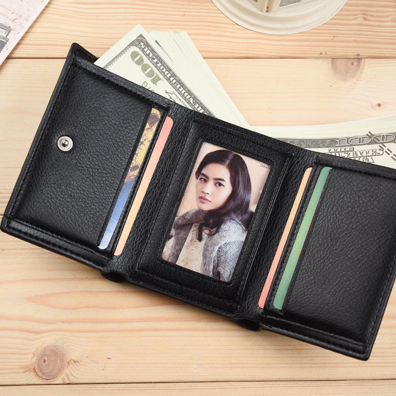新款小巧男女钱包女款短款三折包暗扣短款钱包时尚情侣款皮夹包邮