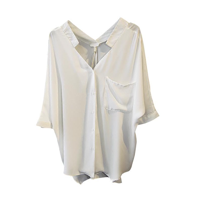 夏季新款女V字领雪纺衬衫五分蝙蝠中袖宽松口袋衬衣纯色百搭