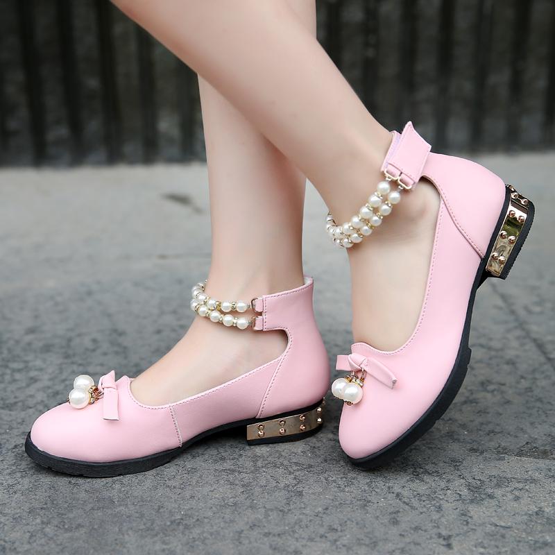 童鞋女童皮鞋公主鞋真皮儿童鞋子软底2019春秋新款演出小高跟单鞋