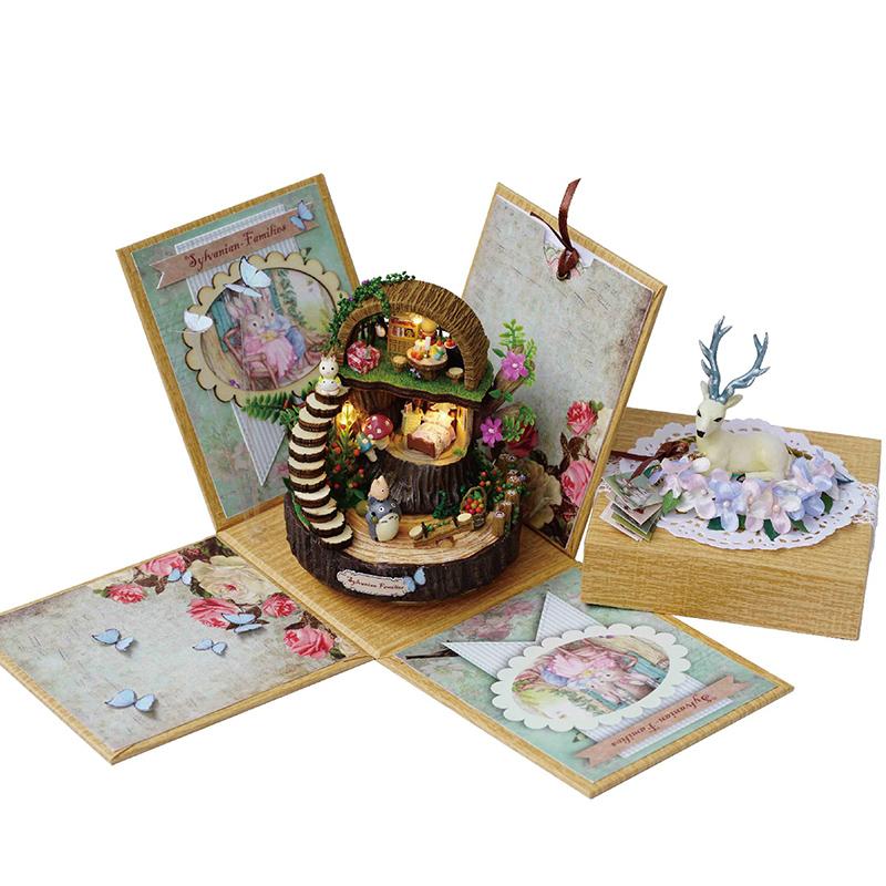 创意旋转 diy 木质八音盒音乐盒生日礼物龙猫女孩手工女生天空之城