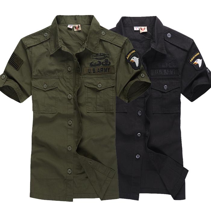 軍迷 戶外男款純棉101空降師短袖襯衣 軍迷戰術特勤耐磨軍裝 襯衫