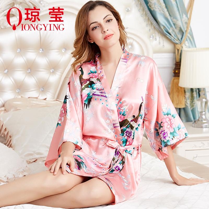 睡衣女夏季新款短袖仿真丝薄款丝绸宽松性感孔雀睡袍浴袍家居服
