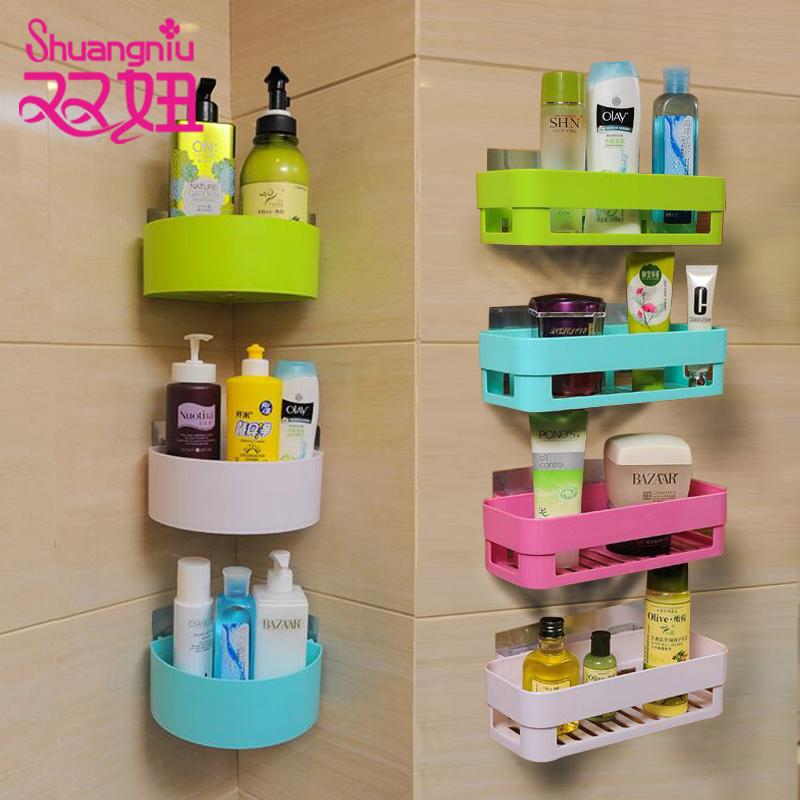 卫生间置物架壁挂浴室置物架免打孔厕所吸壁式吸盘卫浴收纳三角架