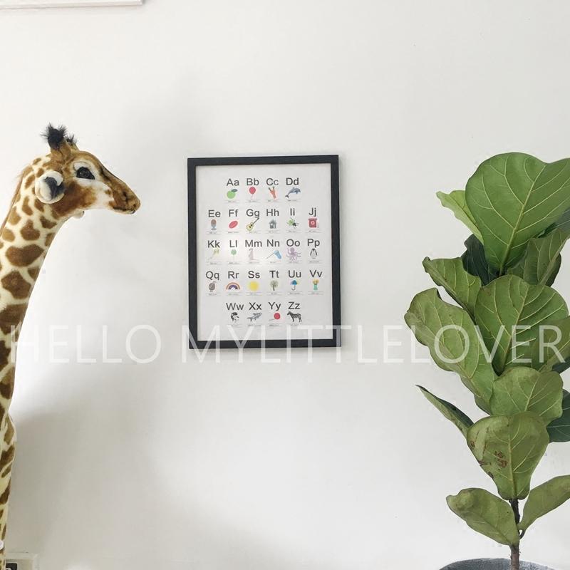 INS定制 26个英文字母认知识图挂画 北欧风儿童房装饰画